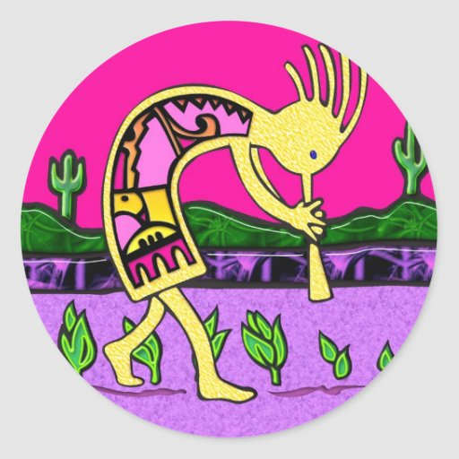 Kokopelli, Flute Player of the Desert Round Sticker