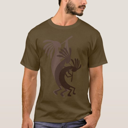 Kokopelli Gets Down Brown Mens Tee Shirt