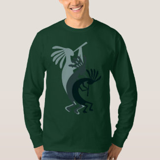 Kokopelli Gets Down Music Mens Green LS Tshirt