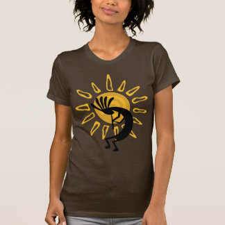 Kokopelli Gold Ladies Brown Tshirts