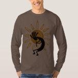 Kokopelli Gold Mens Brown Long Sleeve Shirt