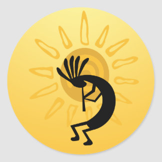 Kokopelli Gold Sun  Sticker