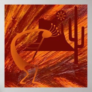Kokopelli Heat Poster