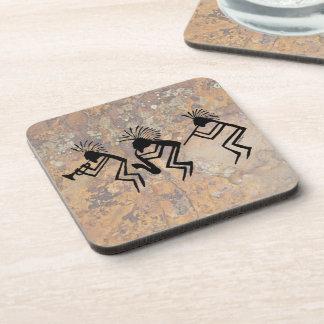Kokopelli Horn and Flute Player Petroglyph Drink Coaster