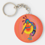 Kokopelli Lizard Sun Basic Round Button Keychain
