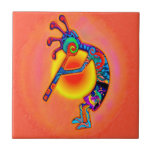 "Kokopelli Lizard Sun Ceramic Tile<br><div class=""desc"">This native American inspired ceramic tile has Kokopelli with a lizard and sun in bright and colorful colors.</div>"