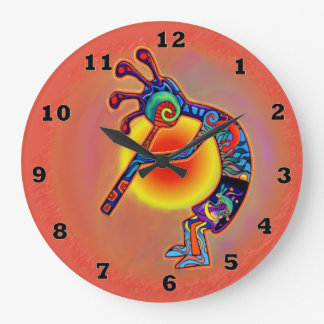 Kokopelli Lizard Sun Large Clock