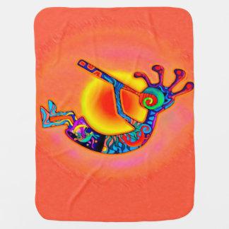 Kokopelli Lizard Sun Receiving Blanket