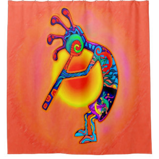 Kokopelli Lizard Sun Shower Curtain