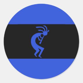 Kokopelli long Blue Classic Round Sticker