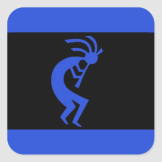 Kokopelli long Blue Square Sticker