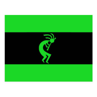 Kokopelli long Green Postcard