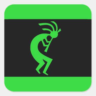Kokopelli long Green Square Sticker