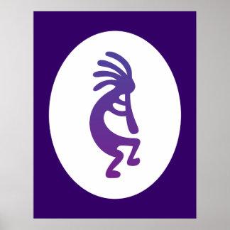 Kokopelli mágico púrpura póster