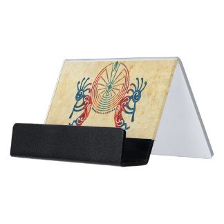 KOKOPELLI / MAN IN THE MAZE colored + your ideas Desk Business Card Holder