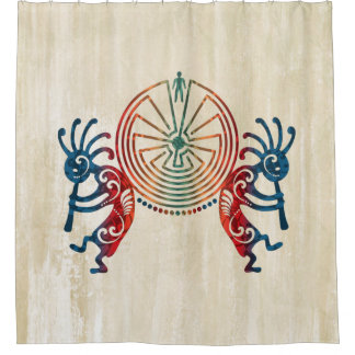 KOKOPELLI / MAN IN THE MAZE colored + your ideas Shower Curtain