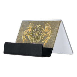 Indian business card holders zazzle kokopelli man in the maze gold your ideas desk business card holder colourmoves