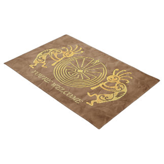 KOKOPELLI / MAN IN THE MAZE gold + your ideas Doormat