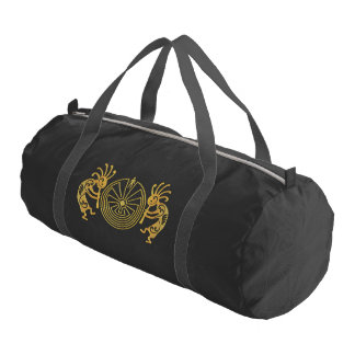 KOKOPELLI / MAN IN THE MAZE gold + your ideas Duffle Bag