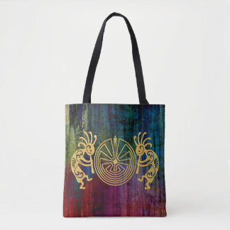 KOKOPELLI / MAN IN THE MAZE gold + your ideas Tote Bag