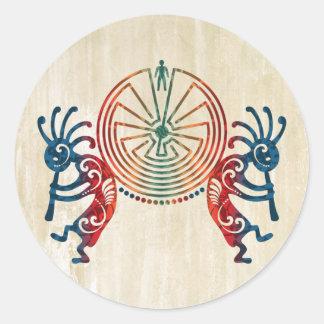 KOKOPELLI / MAN IN THE MAZE + your ideas Classic Round Sticker