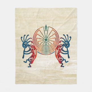 KOKOPELLI / MAN IN THE MAZE + your ideas Fleece Blanket