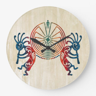 KOKOPELLI / MAN IN THE MAZE + your ideas Large Clock
