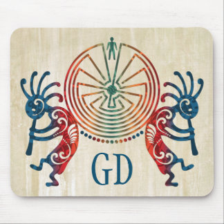 KOKOPELLI / MAN IN THE MAZE + your monogram Mouse Pads