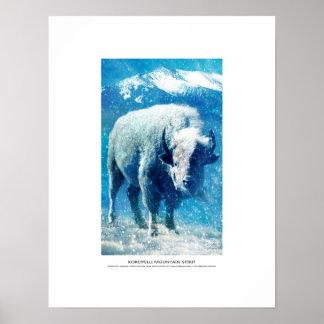 Kokopelli Mountain Spirit, white buffalo in snow Poster