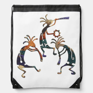 KOKOPELLI musician trio + your ideas Drawstring Bag