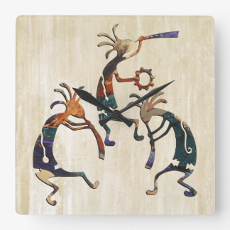 KOKOPELLI musician trio + your ideas Square Wall Clock