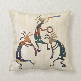 KOKOPELLI musician trio + your ideas Throw Pillow