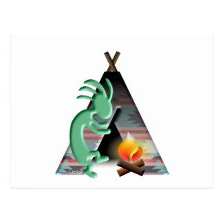 Kokopelli Native American Tipi Camping Postcard