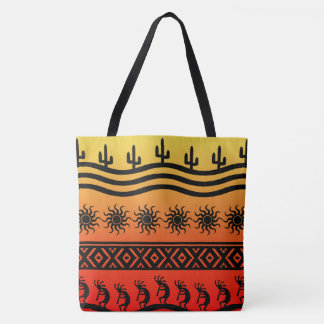 Kokopelli Ombre Sunset Cactus Pattern Tote Bag