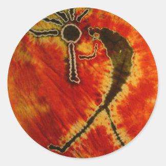 Kokopelli Phat Dyes Tie Dyes Classic Round Sticker