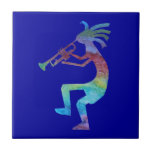 "Kokopelli Plays The Trumpet Tile<br><div class=""desc"">Bright colorful Kokopelli plays the trumpet.</div>"