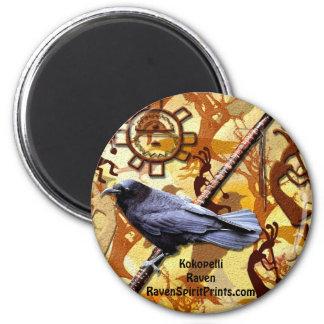 KOKOPELLI RAVEN Collection 2 Inch Round Magnet