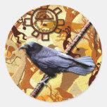 KOKOPELLI RAVEN Collection Classic Round Sticker
