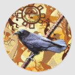 KOKOPELLI RAVEN Collection Round Stickers