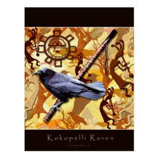 KOKOPELLI RAVEN Native American Art-style Series Post Card