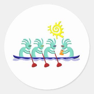 Kokopelli Rowing Classic Round Sticker