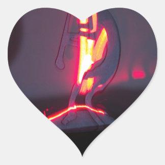 Kokopelli Shadows and Fire Heart Sticker