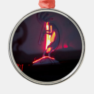 Kokopelli Shadows and Fire Metal Ornament