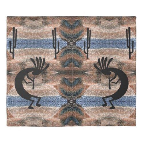 Kokopelli Southwest Desert Mosaic King Duvet Cover
