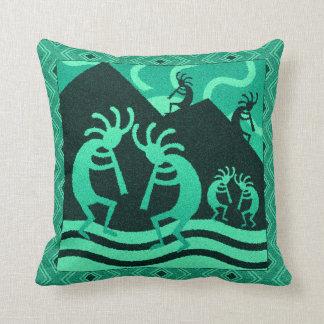 Kokopelli Southwest Turquoise And Black Throw Pillow