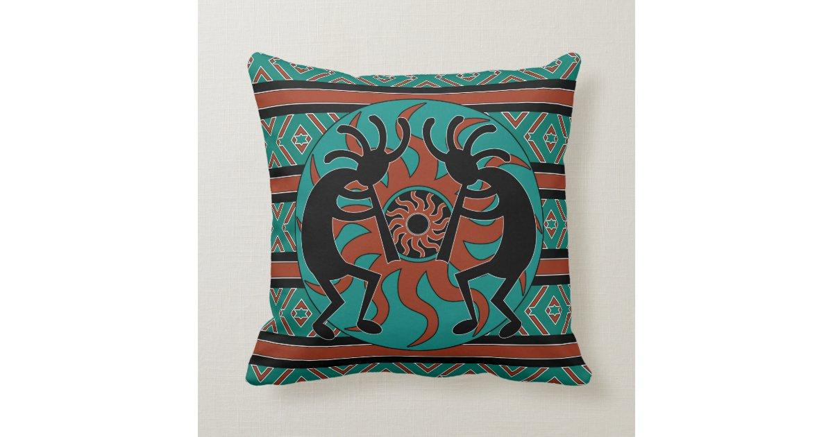 Kokopelli Southwest Turquoise Decorative Throw Pillow Zazzle