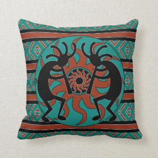Kokopelli Southwest Turquoise Decorative Throw Pillow