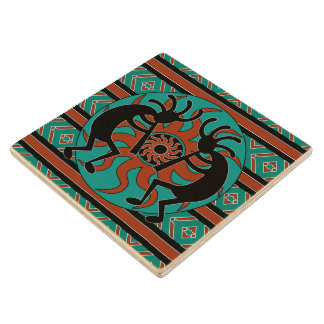 Kokopelli Southwest Turquoise Tribal Sun Wood Coaster