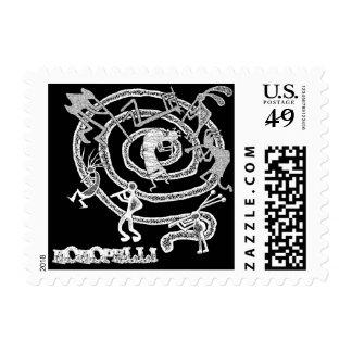 Kokopelli & Spiral - Postage #4