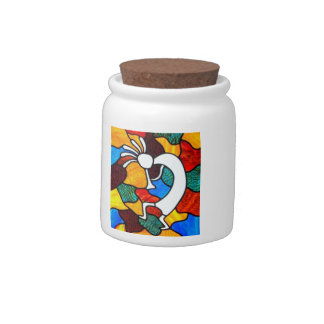 Kokopelli Stained Glass Candy Jar
